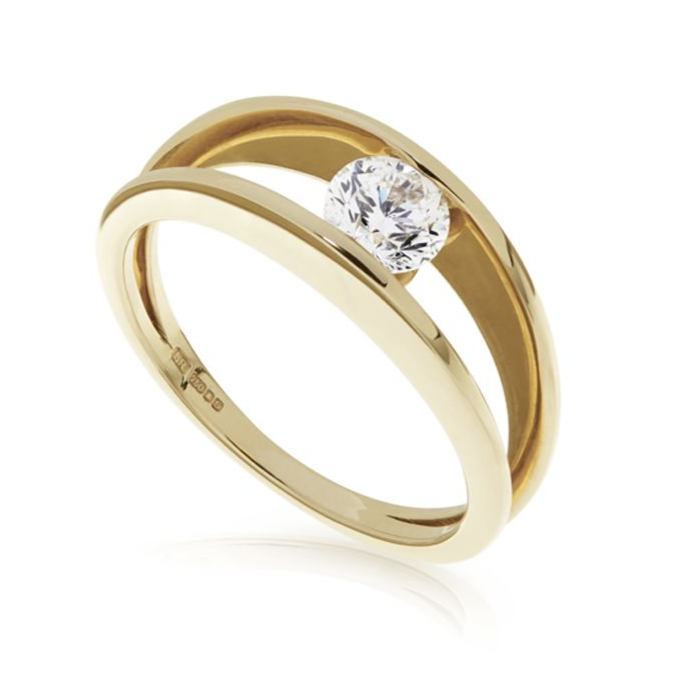 18ct Yellow Gold and Floating Diamond Solitaire Ring