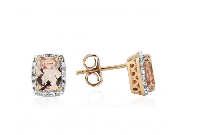 9ct Morganite And Diamond Earrings