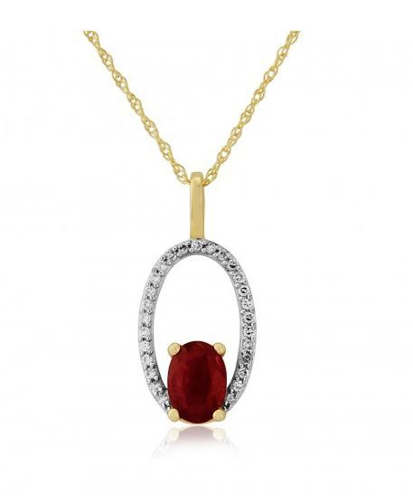 9ct Yellow Gold Ruby And Diamond Halo Pendant
