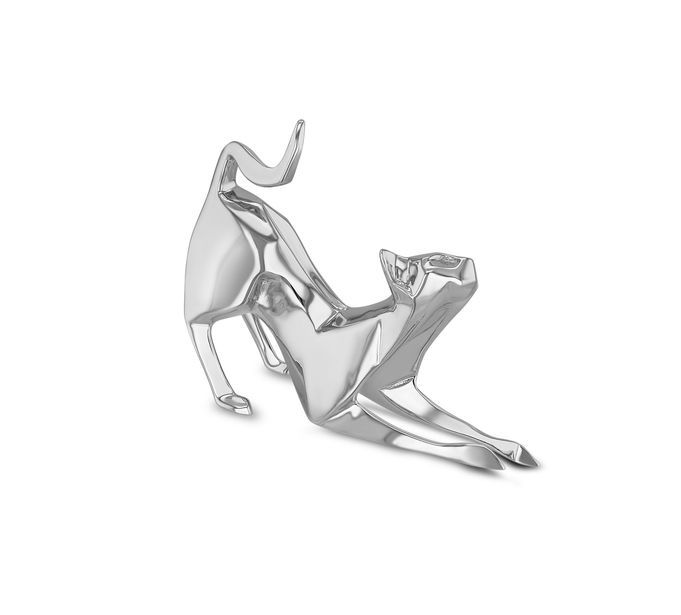 Nomi Sterling Silver Origami Stretching Cat Sculpture